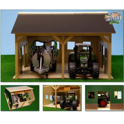 Hangar de madera para 2 tractores - escala 1:16