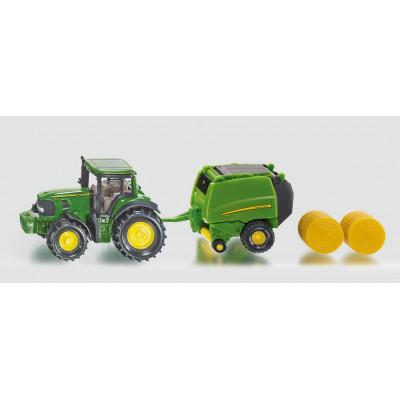 Tractor John Deere con rotoempacadora - Blister