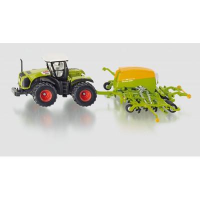 Tractor Claas con sembradora Amazone - escala 1:87