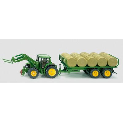 Tractor John Deere con pala y remolque y rulos - escala 1:32