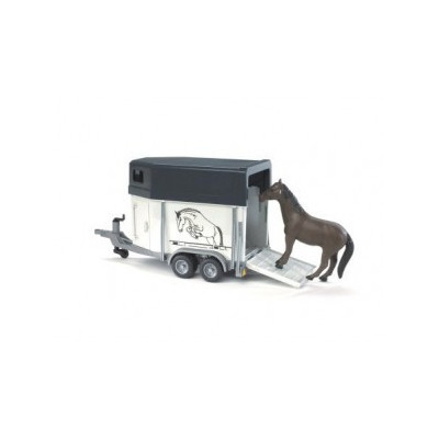 Remolque de transporte de animales incluye un caballo - Escala 1:16