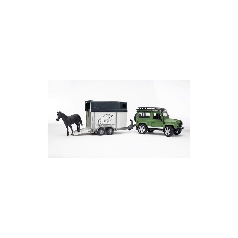 Coche Land Rover Defender SW con remolque equino y caballo - Escala 1:16