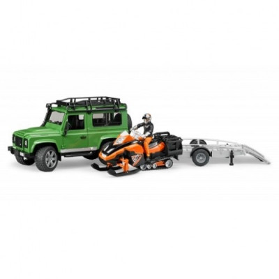 Land Rover con remolque con conductor y moto esqui - escala 1:16