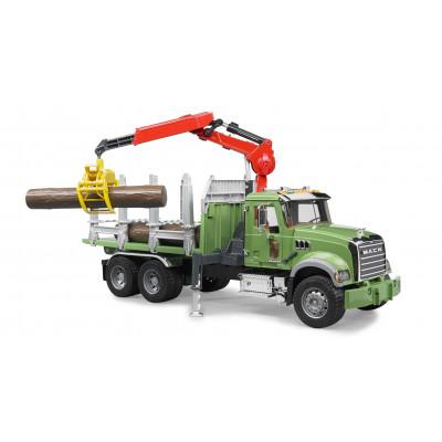 Mack transporte de madera con grua y 3 troncos - escala 1:16
