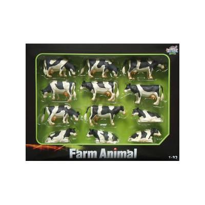 12 unidades vacas tumbadas y de pie negro blanco escala 1:32