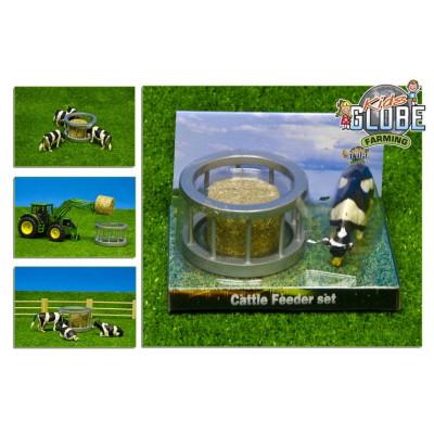 Pesebre con vaca y paca redonda - escala 1:32