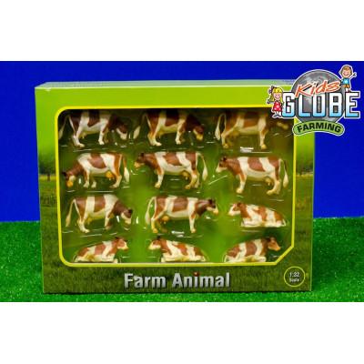 Set vacas rojas 12 unidades - escala 1:32