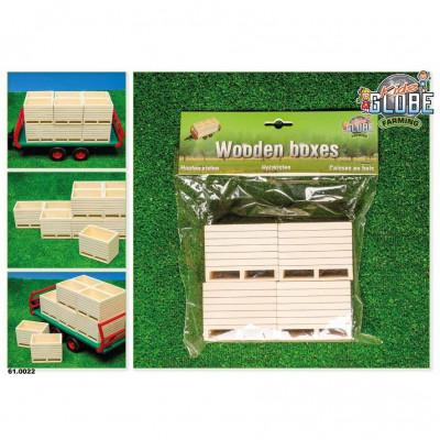 Cajas de madera de patata (juego de 4) - escala 1:16