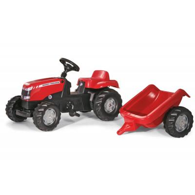 Tractor Massey Ferguson con remolque a pedales