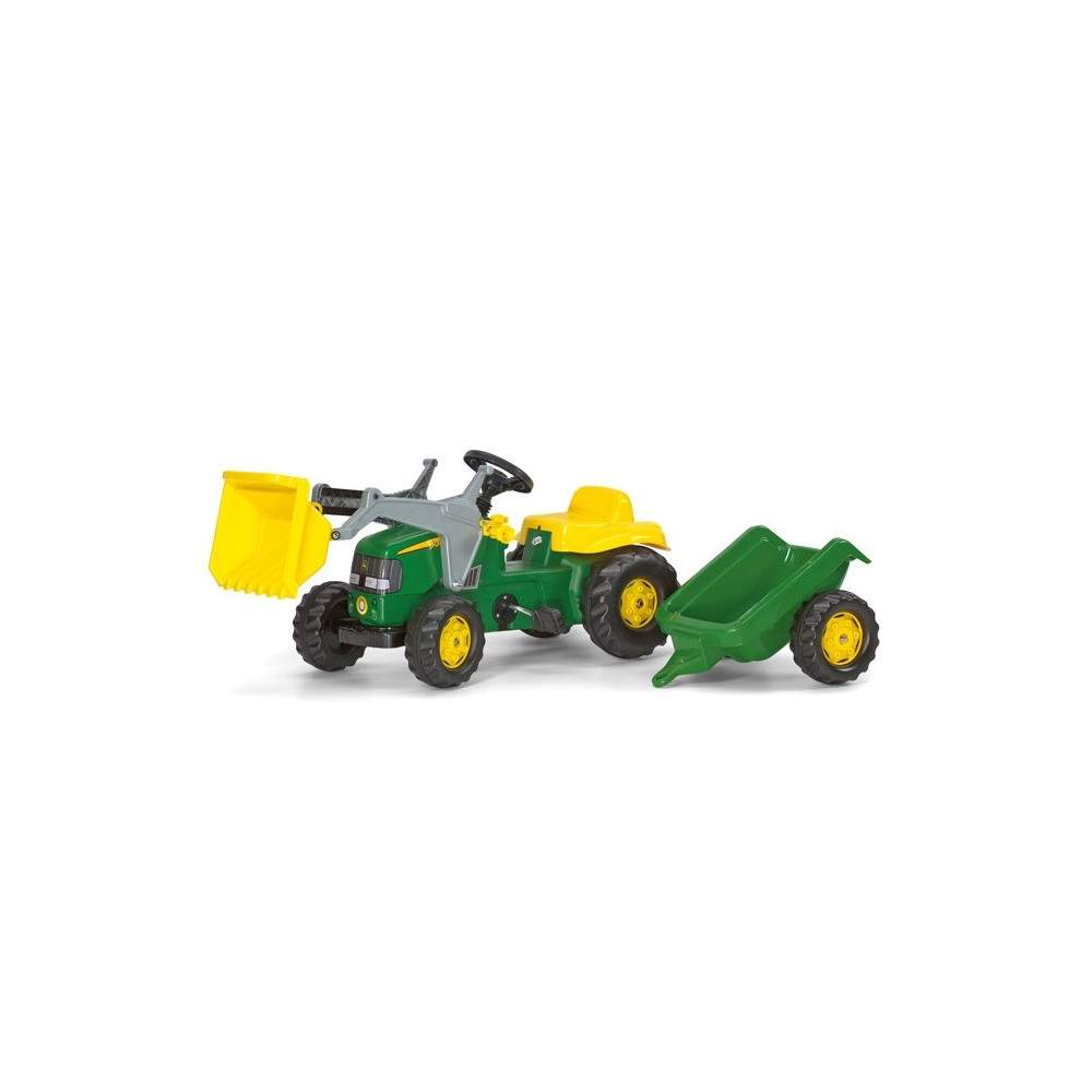 Tractor John Deere con pala y remolque a pedales
