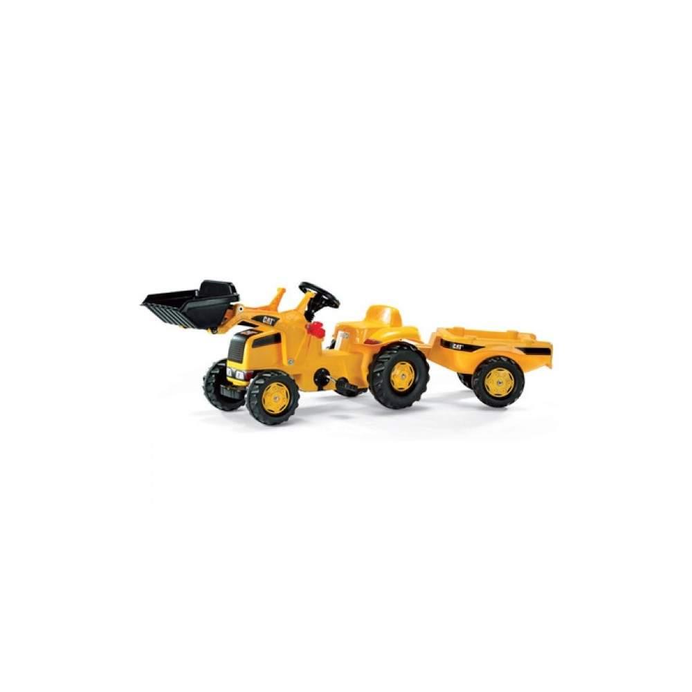 Tractor Caterpillar con pala y remolque a pedales