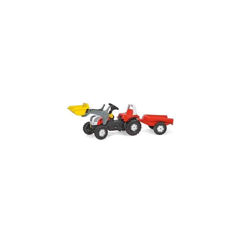 Tractor Steyr con pala y remolque a pedales