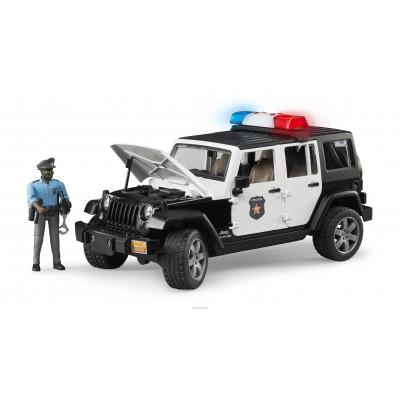 Jeep Wrangler Unlimited Rubicon Policia  con sirena y policía negro escala 1:16