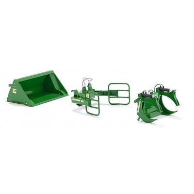 Un conjunto de herramientas cargadora John Deere verde - escala 1:32