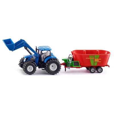 Tractor New Holland con pala y Strautmann Remolques Mezclador - escala 1:50