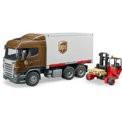 Scania R-Serie UPS Logistik- LKW con carretilla elevadora - escala 1:16