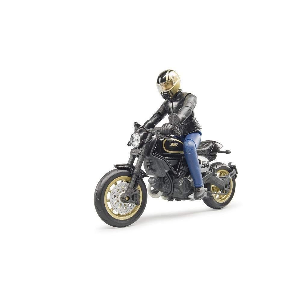 Moto Scrambler Ducati Cafe Racer con piloto - escala 1:16