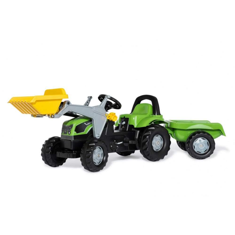 Tractor Deutz-fahr con pala y remolque a pedales
